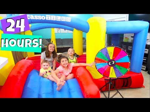 24 HOURS OVERNIGHT IN A BOUNCE HOUSE CHALLENGE! | Popular Challenges