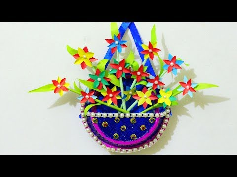 Wow Beautiful DIY Decor Craft from Disposable Plates Flower Vase & Paper Flower