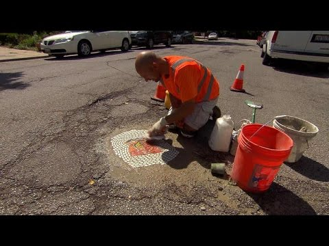 Filling potholes with art