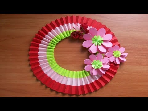 DIY Spring Paper Decorations and Crafts. Easy Easter Wreath. Home Decor