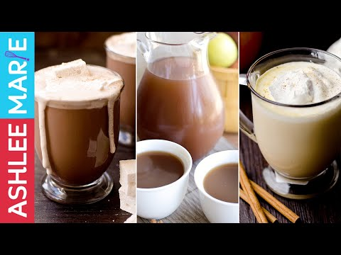 3 Warm Fall Drink Recipes - Hot Chocolate, Warm Pumpkin Pie drink and Homemade Apple Cider