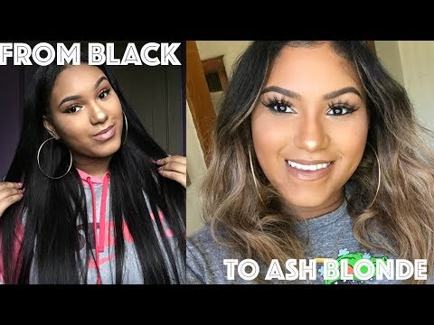 How to: Dye Black Hair Ash Blonde ft BossXtend Brazilian Straight Hair