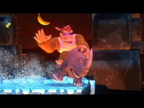 Donkey Kong Country Tropical Freeze - All Rambi the Rhino Level with Funky Kong
