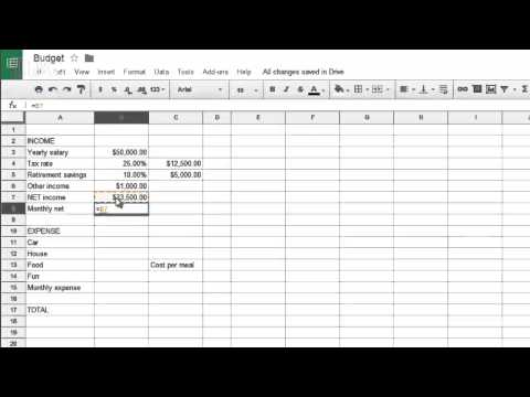 How to create a budget with simple spreadsheet commands