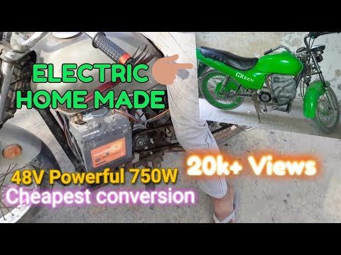 Electric motorcycle GREEN Home made build from old petrol motorcycle part-2