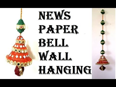 HOW TO MAKE NEWS PAPER BELL WALL HANGING-DIWALI DECOR