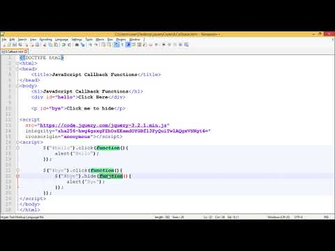 JQuery - JAvaScript Callbacks Functions