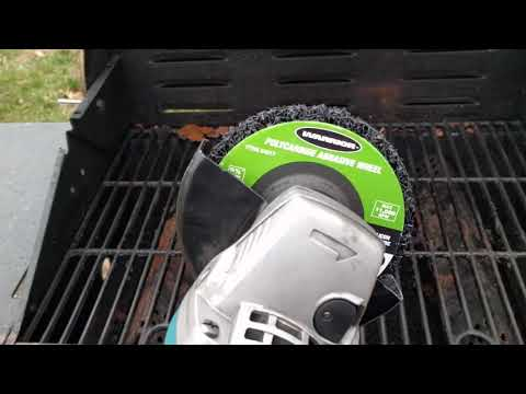 Cleaning a grill with an Angle Grinder.