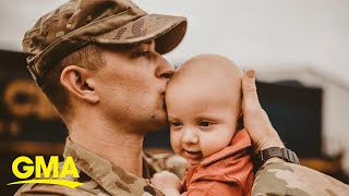Military dad meeting 6-month-old son for the first time captured in sweet photos l GMA Digital