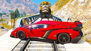 Super Cars vs Train - GTA 5