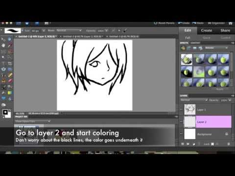How to color/draw on Photoshop elements