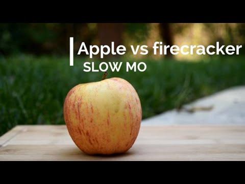 Apple vs Firecracker - SLOW MOTION - 2500 FPS!