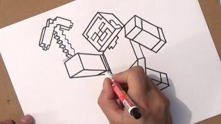 como desenhar o herobrine de minecraft skin how to draw