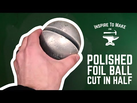 Mirror-Polished Japanese Foil Ball Challenge Cut in Half with Water Jet Cutter