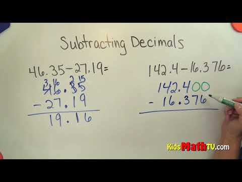Subtraction of two decimal numbers video tutorial, 4th to 7th grades