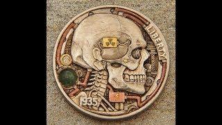 Carving a hobo nickel coin Atompunk
