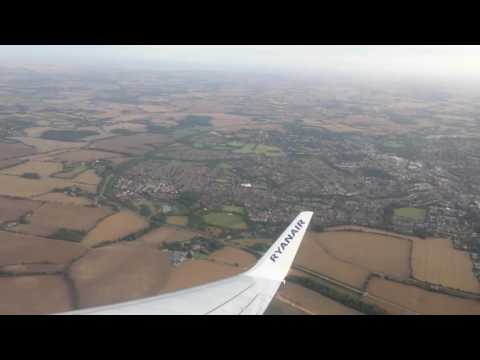 Flying on Ryanair's Boeing 737-800 from Stansted, England to Faro, Portugal