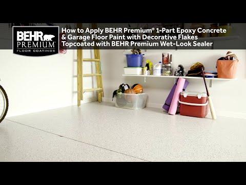 How to Apply BEHR Premium® 1-Part Epoxy Concrete & Garage Floor Paint w Decorative Flakes and Sealer