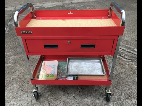 Harbor Freight US General Glossy Red Service Cart with Locking Drawer Review