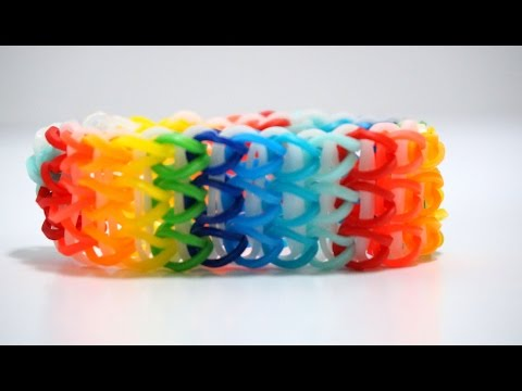 Triple Single Rainbow Loom Bracelet without Loom with 2 fork How to make Bracelet