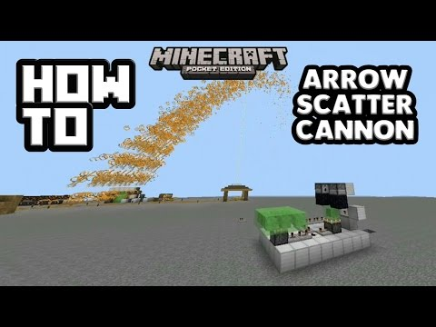 HOW TO MAKE AN ARROW SCATTER CANNON FOR MCPE 1.0|Minecraft PE (MCPE) How To #51
