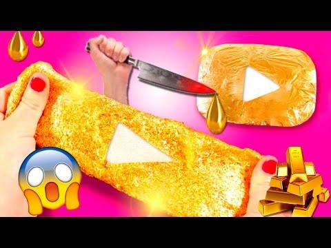 DIY Liquid GOLD Play BUTTON 🔪 Cutting GOLDEN play BUTTON 😱