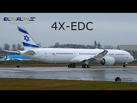 El Al Israel third Boeing 787-9 (4X-EDC) First Flight@ RTO + take off + high speed taxi @ PAE