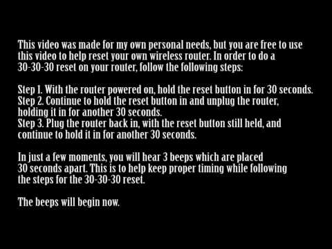 30-30-30 Reset Instructions + Timer