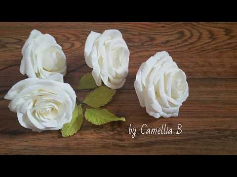 DIY- How to make Garden Rose from crepe paper-  white paper roses - Hoa hồng giấy nhún