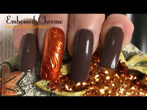 Easy Embossed Chrome Fall Nail Art