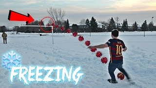 INSANE CROSSBAR CHALLENGE IN THE SNOW!! *FREEZING COLD*