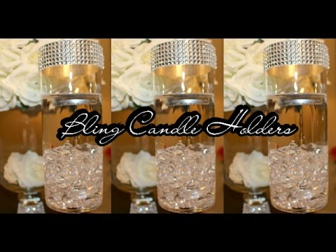 DIY: Candle Holder Centerpiece Set of 2 | Bling Wedding | Goodwill | Dollar Tree | Michael's