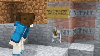 PULL THIS LEVER FOR INFINITE DIAMONDS... (Minecraft Trolling)
