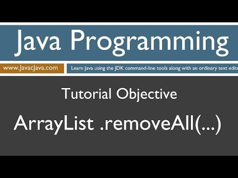 Learn Java Programming - ArrayList removeAll Method Tutorial