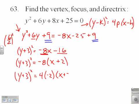 Find the Vertex, Focus, and Directrix of a Parabola  9.1.63