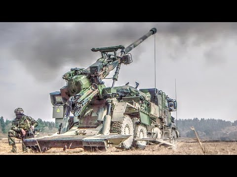 French Soldiers Fire CAESAR Self-propelled Howitzers