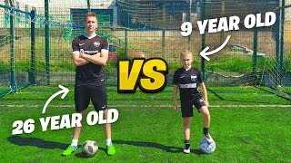 9 YEAR OLD VS 26 YEAR OLD FOOTBALL CHALLENGES (NEXT MESSI?)