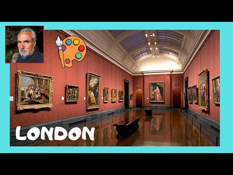 LONDON, the famous National Gallery, walking through on a rainy, wintry day