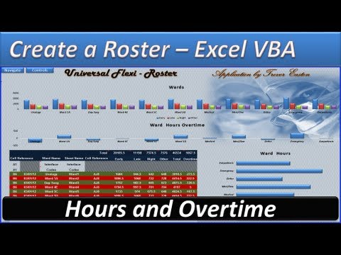 Roster - Excel VBA - Create a Roster -Roster Template - Hours and Overtime