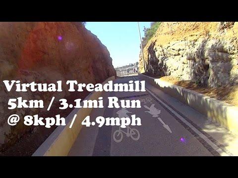 Virtual Treadmill Run 5km / 3.1mi @ 8kph / 4.9mph - Wollongong, NSW Australia
