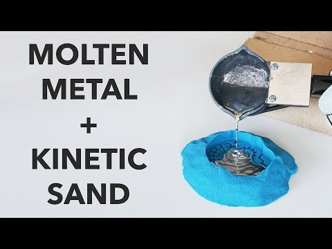 Pouring Molten Metal into Kinetic Sand