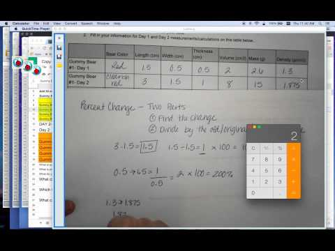 Gummy Bear Conclusion Part 2- How to Calculate Percent Change