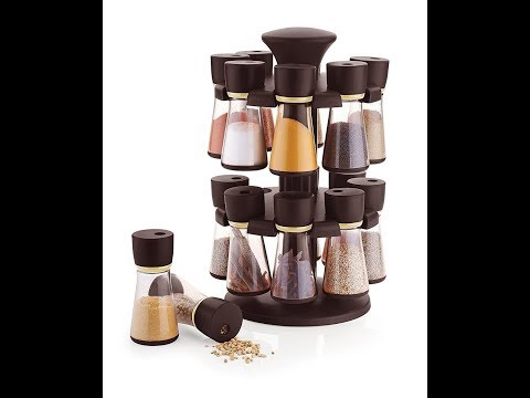 Floraware 16-Jar Revolving Spice Rack Masala Box, Dark Brown
