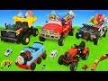 Fire Truck Tractor Police Cars Train amp Dump Trucks Ride On Surprise Toy Vehicles For Kids