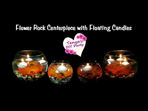 Centerpiece DIY - Flower Rock Centerpiece with Floating Candles