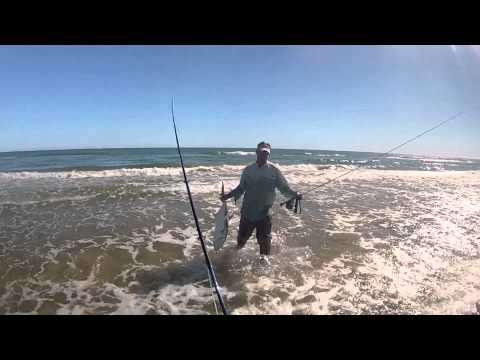 Fly fishing surf PINS Padre Island National Seashore trip November 2012 Jacks and reds.