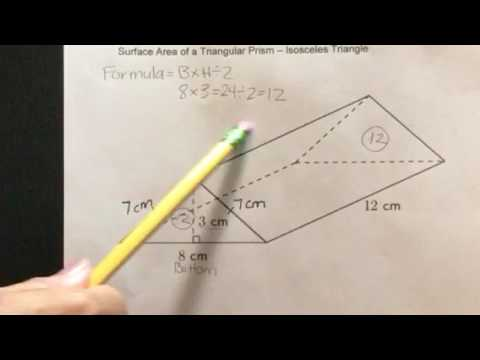 How to find the Surface Area of a Triangular Prism-Isosceles Triangle