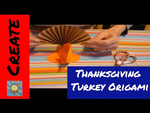 How to make a Turkey table top origami for Thanksgiving