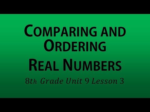 Comparing and Ordering Real Numbers (8th Grade Unit 9 Lesson 3)