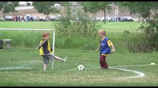 little Kids play soccer